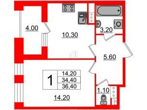 Квартира в ЖК Svetlana Park, 1 комнатная, 34.4 м², 7 этаж