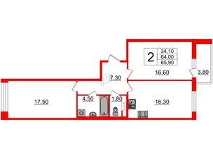 Квартира в ЖК Svetlana Park, 2 комнатная, 64 м², 3 этаж