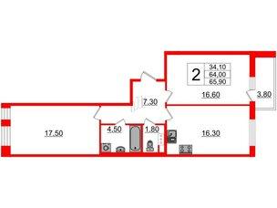 Квартира в ЖК Svetlana Park, 2 комнатная, 64 м², 6 этаж