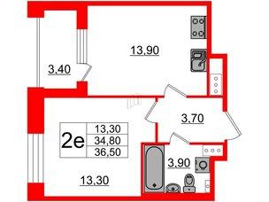 Квартира в ЖК Svetlana Park, 1 комнатная, 34.8 м², 4 этаж