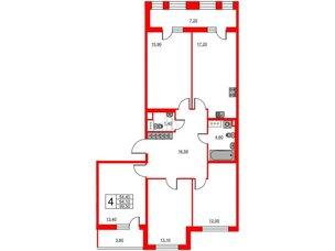 Квартира в ЖК Svetlana Park, 4 комнатная, 94.1 м², 6 этаж