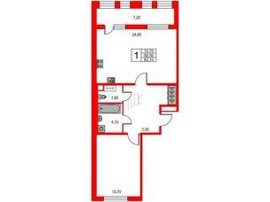 Квартира в ЖК Svetlana Park, 1 комнатная, 58.5 м², 9 этаж