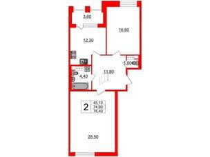 Квартира в ЖК Svetlana Park, 2 комнатная, 74.6 м², 3 этаж