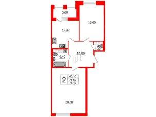Квартира в ЖК Svetlana Park, 2 комнатная, 74.6 м², 7 этаж