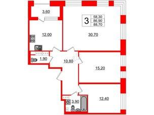 Квартира в ЖК Svetlana Park, 3 комнатная, 86.9 м², 4 этаж