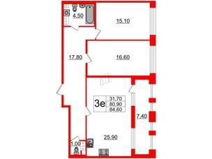 Квартира в ЖК Svetlana Park, 2 комнатная, 80.9 м², 3 этаж