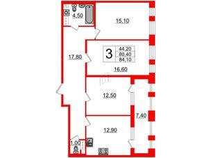 Квартира в ЖК Svetlana Park, 3 комнатная, 80.4 м², 8 этаж