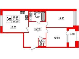 Квартира в ЖК Svetlana Park, 2 комнатная, 63.9 м², 4 этаж