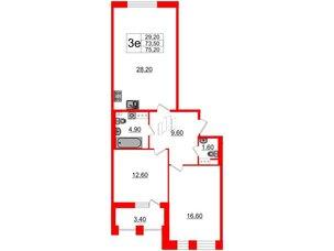 Квартира в ЖК Svetlana Park, 2 комнатная, 73.5 м², 7 этаж