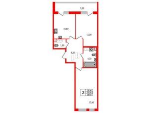 Квартира в ЖК Svetlana Park, 2 комнатная, 55 м², 9 этаж