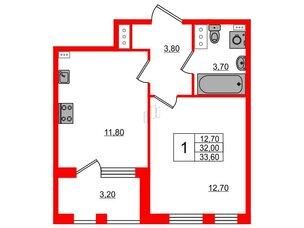 Квартира в ЖК Svetlana Park, 1 комнатная, 32 м², 2 этаж