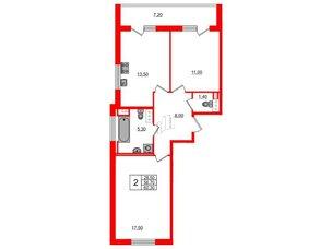 Квартира в ЖК Svetlana Park, 2 комнатная, 56.7 м², 2 этаж