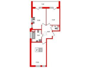 Квартира в ЖК Svetlana Park, 2 комнатная, 56.7 м², 4 этаж
