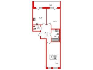 Квартира в ЖК Svetlana Park, 2 комнатная, 55.2 м², 7 этаж