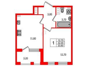 Квартира в ЖК Svetlana Park, 1 комнатная, 32 м², 4 этаж