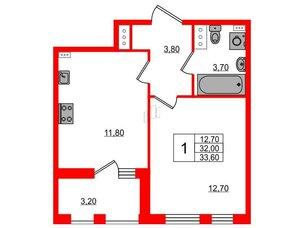 Квартира в ЖК Svetlana Park, 1 комнатная, 32 м², 6 этаж