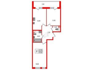 Квартира в ЖК Svetlana Park, 2 комнатная, 54.2 м², 6 этаж