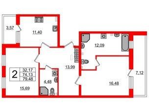 Квартира в ЖК Зеленый квартал на Пулковских высотах, 2 комнатная, 71.7 м², 1 этаж