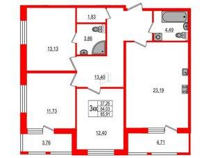 Квартира в ЖК Статус у Парка Победы, 3 комнатная, 82.5 м², 2 этаж