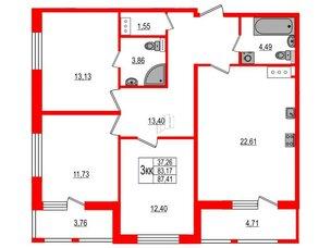 Квартира в ЖК Статус у Парка Победы, 3 комнатная, 81.7 м², 3 этаж