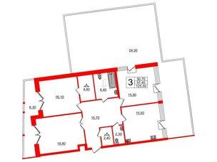 Квартира в ЖК Эталон на Неве, 3 комнатная, 127.8 м², 9 этаж