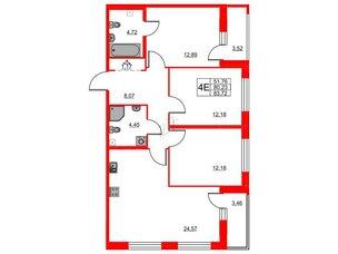 Квартира в ЖК «Триумф Парк», 3 комнатная, 80.23 м², 2 этаж