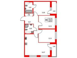 Квартира в ЖК «Триумф Парк», 3 комнатная, 79.44 м², 4 этаж