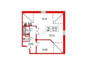 Квартира в ЖК Art House, 2 комнатная, 62.25 м², 7 этаж