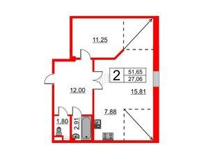Квартира в ЖК Art House, 2 комнатная, 51.65 м², 7 этаж