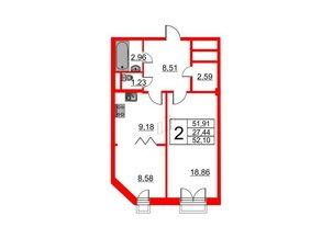 Квартира в ЖК Art House, 2 комнатная, 52.1 м², 7 этаж
