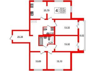 Квартира в ЖК Шуваловский, 4 комнатная, 113.8 м², 7 этаж
