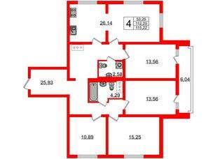 Квартира в ЖК Шуваловский, 4 комнатная, 116 м², 14 этаж
