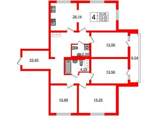 Квартира в ЖК Шуваловский, 4 комнатная, 115.9 м², 17 этаж