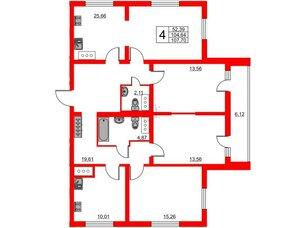 Квартира в ЖК Шуваловский, 4 комнатная, 107.5 м², 23 этаж