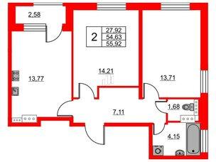 Квартира в ЖК Терра, 2 комнатная, 55.92 м², 13 этаж