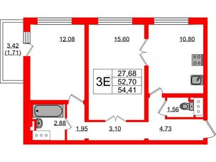 Квартира в ЖК Цветной город, 2 комнатная, 53.9 м², 19 этаж
