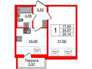 Квартира в ЖК Зеленый квартал на Пулковских высотах, 1 комнатная, 34.07 м², 5 этаж
