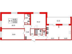 Квартира в ЖК ArtLine в Приморском, 3 комнатная, 112.2 м², 11 этаж