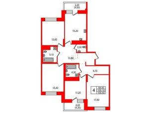 Квартира в ЖК Жемчужный каскад, 4 комнатная, 109.8 м², 21 этаж