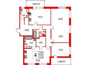 Квартира в ЖК Жемчужная гавань, 4 комнатная, 133.06 м², 8 этаж