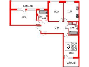 Квартира в ЖК Жемчужная гавань, 3 комнатная, 86.74 м², 10 этаж