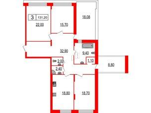 Квартира в ЖК Duderhof Club, 3 комнатная, 131.2 м², 5 этаж