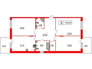 Квартира в ЖК Duderhof Club, 3 комнатная, 138.4 м², 2 этаж