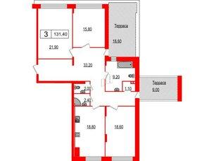 Квартира в ЖК Duderhof Club, 3 комнатная, 131.4 м², 5 этаж