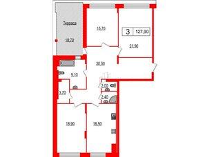 Квартира в ЖК Duderhof Club, 3 комнатная, 127.9 м², 5 этаж