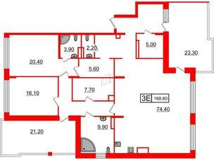 Квартира в ЖК Duderhof Club, 2 комнатная, 168.6 м², 5 этаж