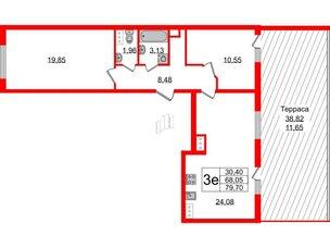 Квартира в ЖК PROMENADE, 2 комнатная, 79.7 м², 13 этаж