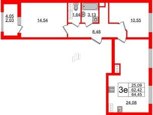 Квартира в ЖК PROMENADE, 2 комнатная, 64.45 м², 16 этаж