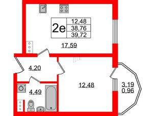 Квартира в ЖК PROMENADE, 1 комнатная, 39.72 м², 11 этаж
