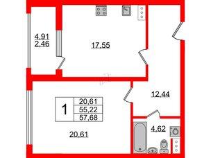 Квартира в ЖК PROMENADE, 1 комнатная, 57.68 м², 16 этаж